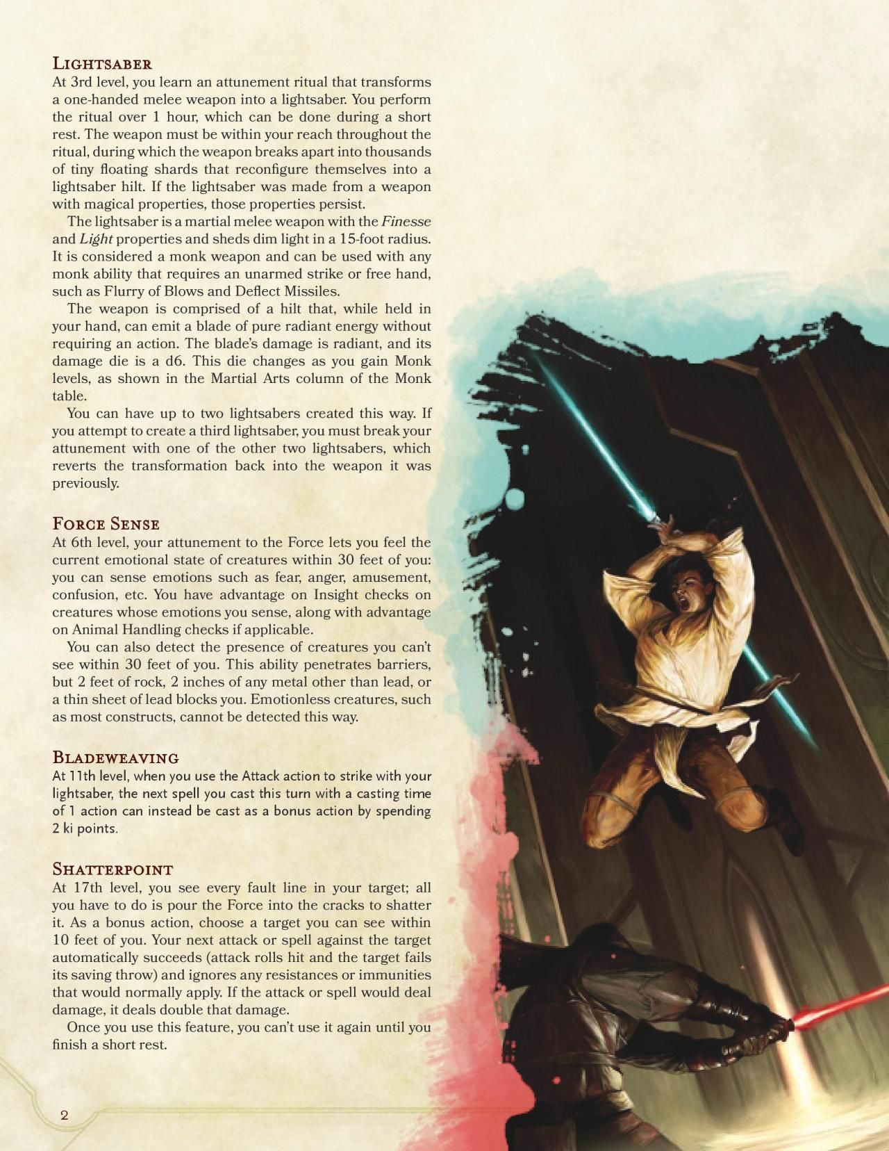 DnD 5e Homebrew — Way of the Jedi Monk by SpiketailDrake | Character