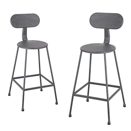 Amazon Com Joveco 26 Inches Industrial Simplify Chic Metal Barstool Round Seat With Back Set Of 2 Dark Grey Wholesale Price Bar Stools Metal Bar Stools Stool 26 inch metal bar stools