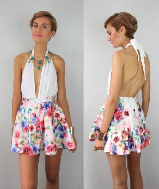Halterneck Pludging Neckline Backless Summer Dress   DIY
