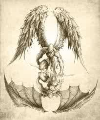 I like the concept but maybe just one being split in half of Angel and Demon showing the duality of man