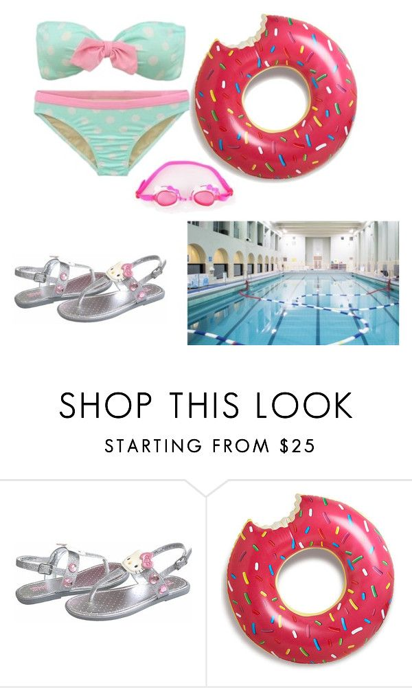 """""""Swimming wif daddy, yay!!💝"""" by super-kawaii-zoe ❤ liked on Polyvore featuring cutekawaii and Hello Kitty"""