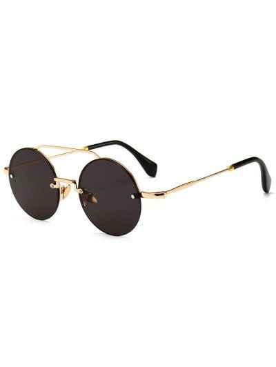 00e4bafbec93d Novelty Crossbar Round Rimless Sunglasses This is a retro round sunglasses  which is UV protection