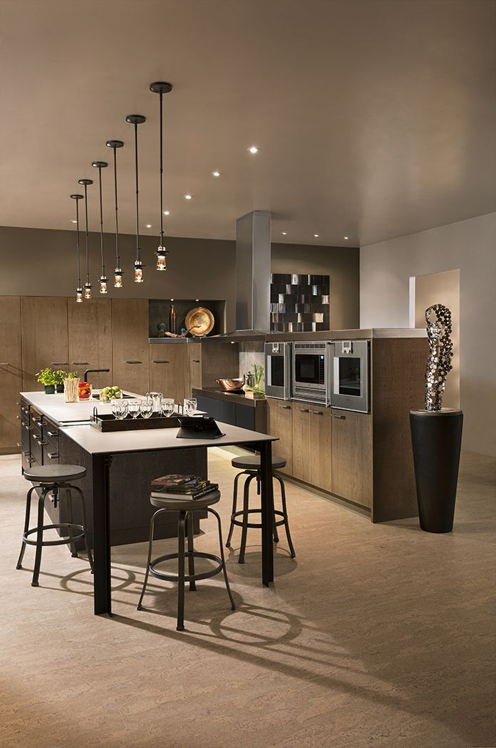 Universal Elements Kitchen By #WoodMode, Featuring Rough Sawn Euro Oak And  Backpainted Glass.