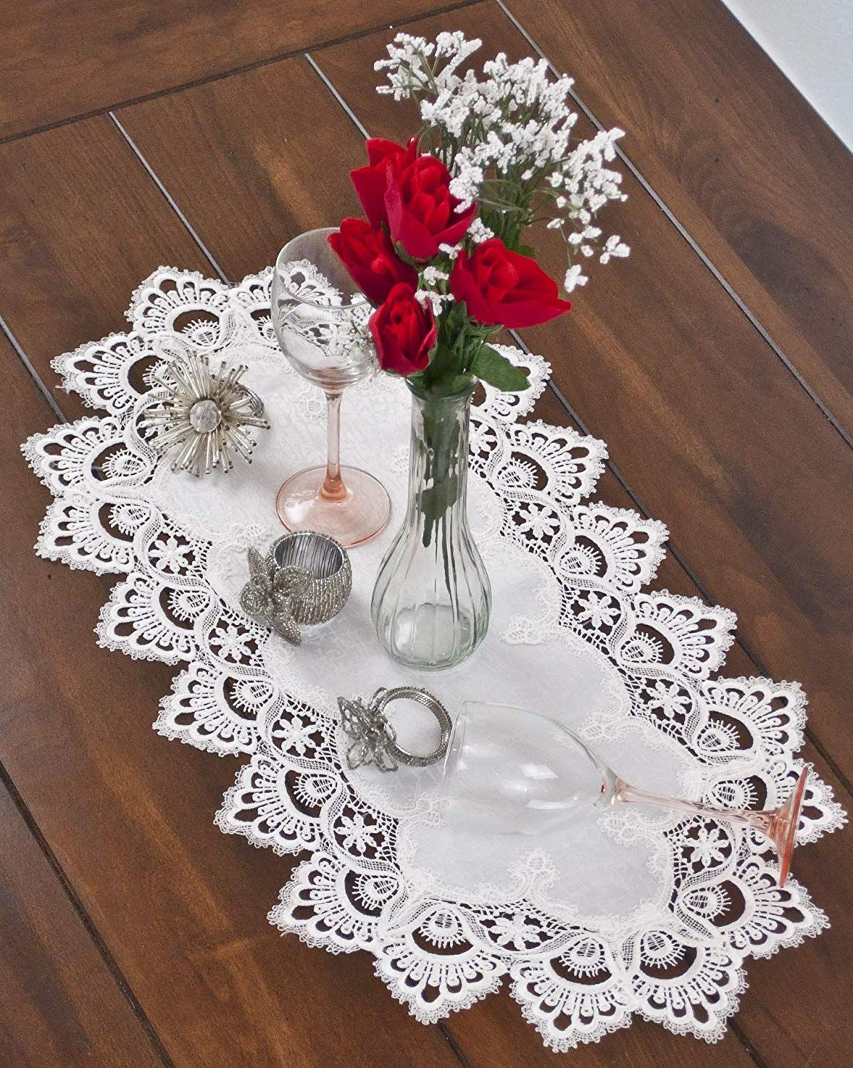 Decor White Jacquard Peacock Tail Lace Dresser Scarf Table Runner Table Runners Wedding Elegant Tablecloth Table Runners