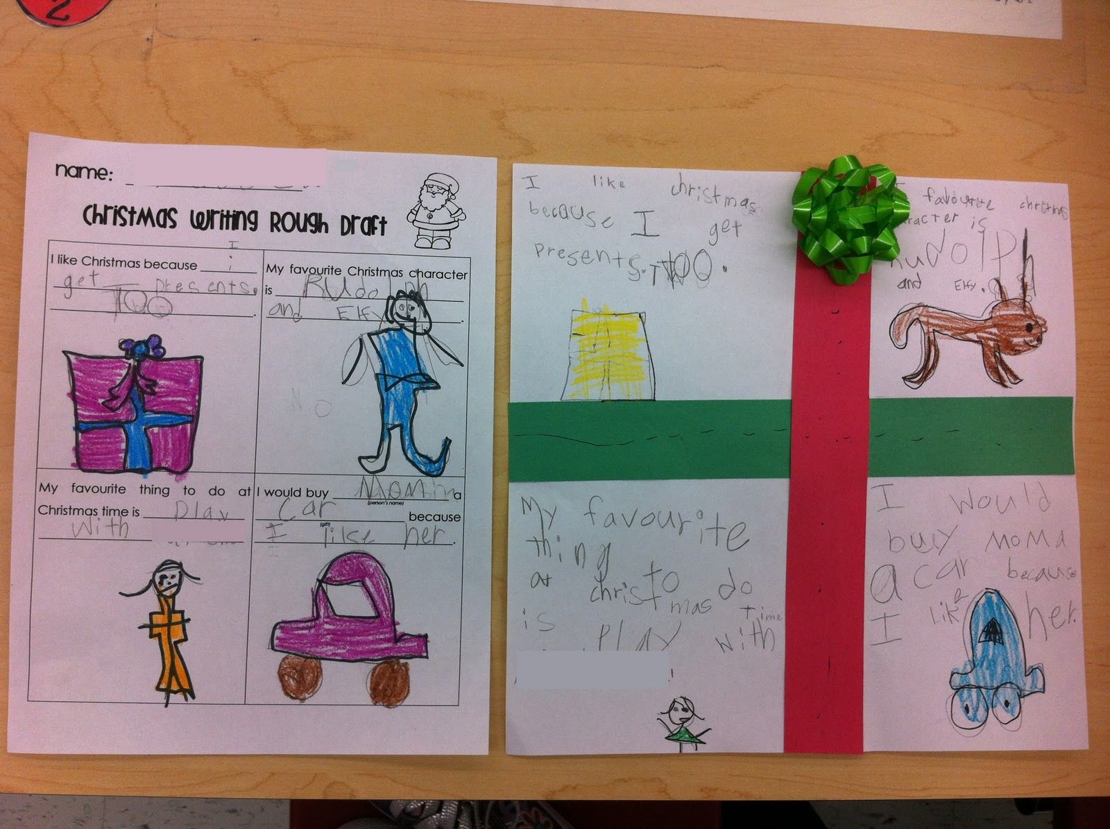 first grade garden christmas writing rough draft and finished gift