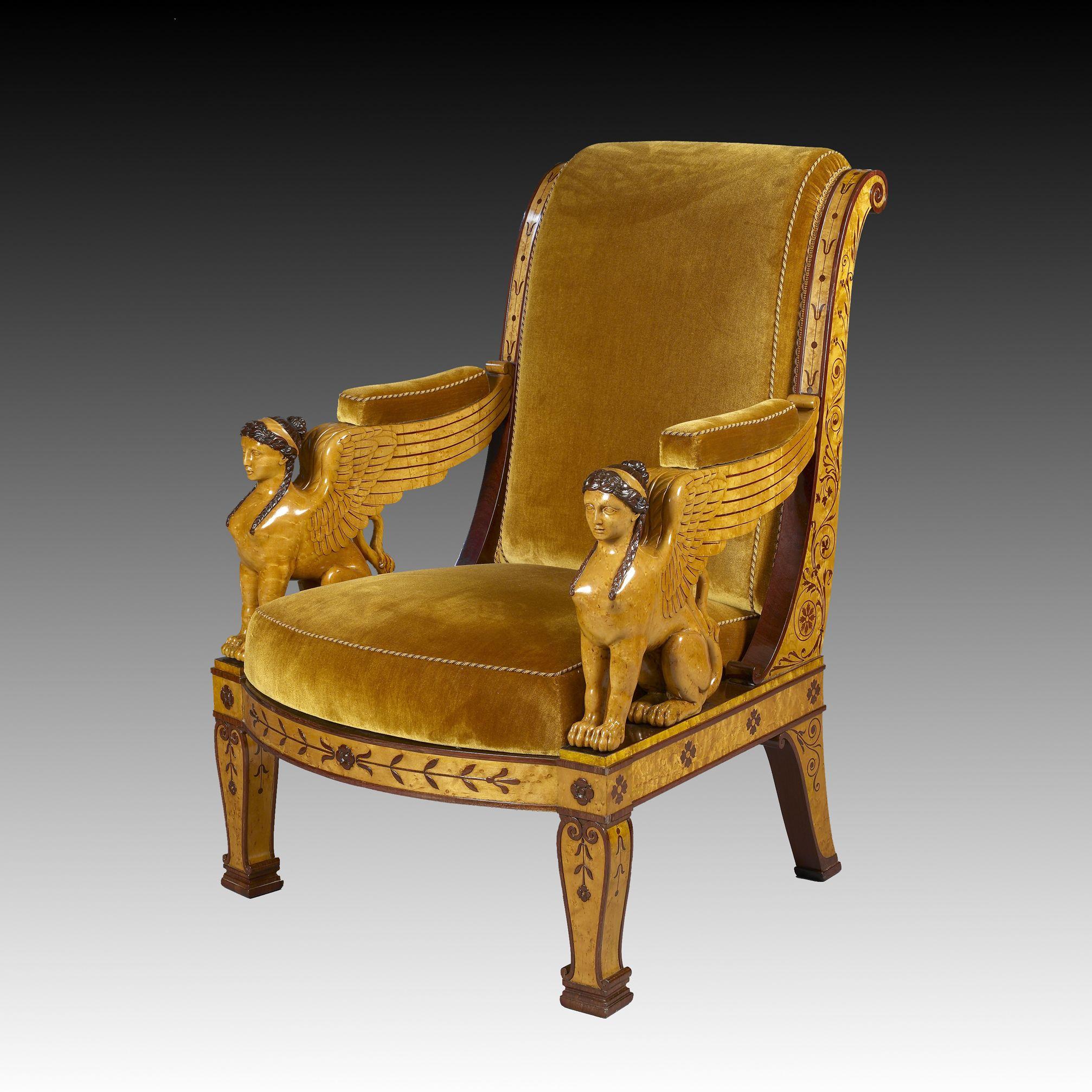 Francois Honore Georges Jacob Dit Jacob Desmalter 1770 1841 Suite De Quatre Fauteuils Aux Sphinges Galerie Perrin Meuble De Style Antiquaires