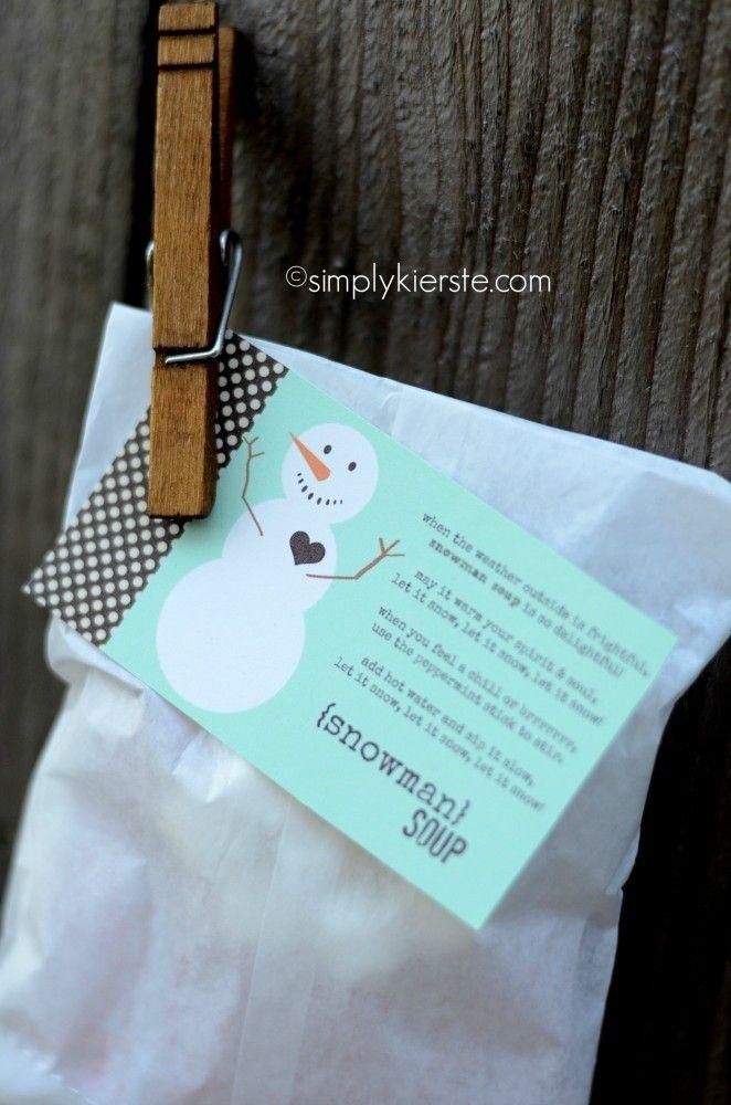 Printable Frozen Blue Snowman Soup for A Treat Bag - Hot Chocolate