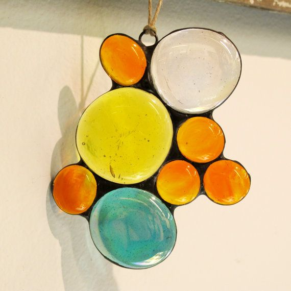 Abstract Colorful Stained Glass Gem by www.paintedlightglass.com on Etsy
