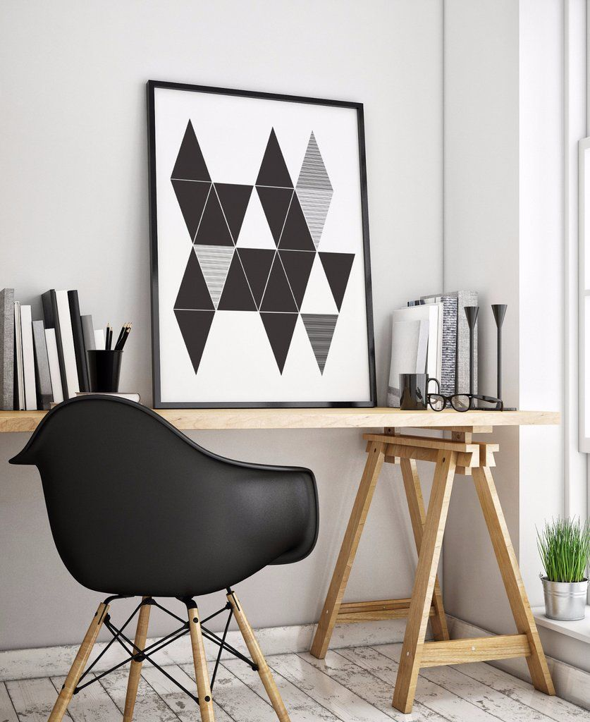 Abstract triangles art printable no u little gold pixel shop