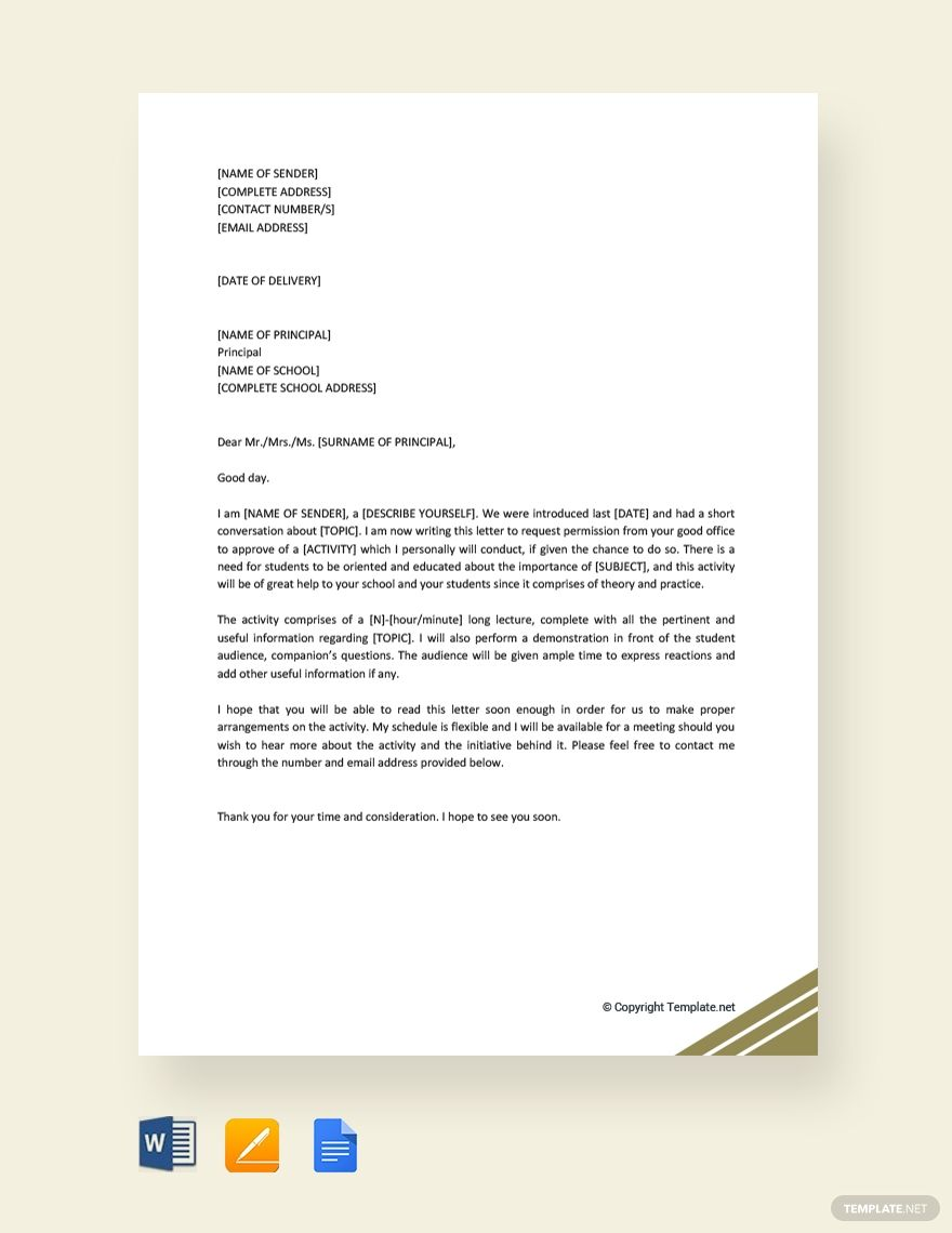 Instantly Download Free Request Letter To Principal For Permission Sample Example In Microsoft Word Doc Google Docs Apple Pages Lettering Word Doc Words