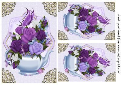 3 Purple floral teapot toppers on Craftsuprint designed by Sharon Poore - 3 Purple floral teapot toppers - Now available for download!