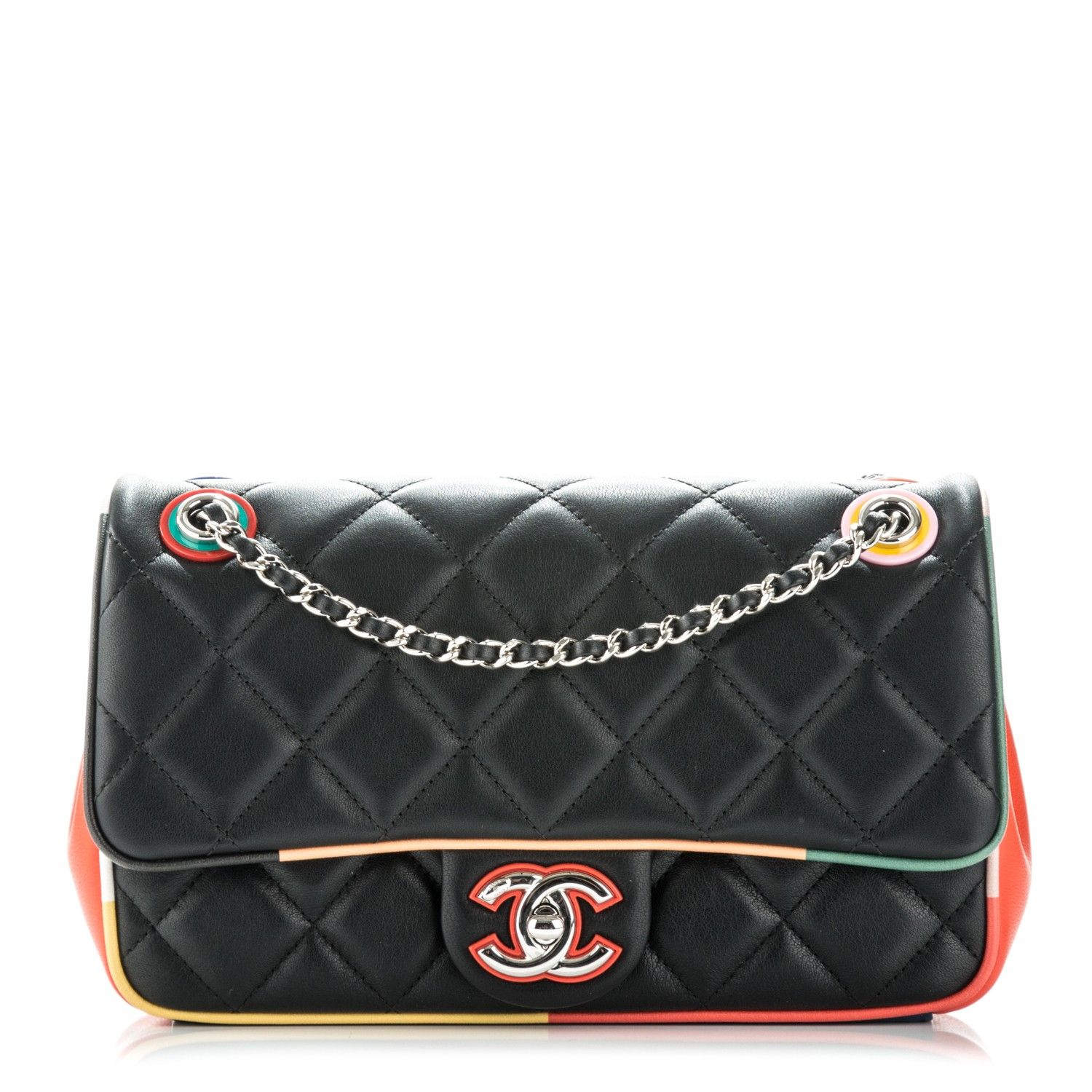 522703da801294 This is an authentic CHANEL Lambskin Quilted Small Cuba Color Flap in  Black. This festive