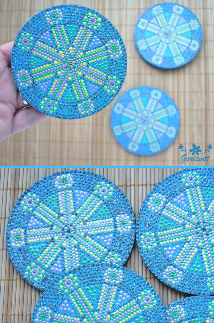 Colorful coasters set Blue kitchen painted decor Drink coasters ...