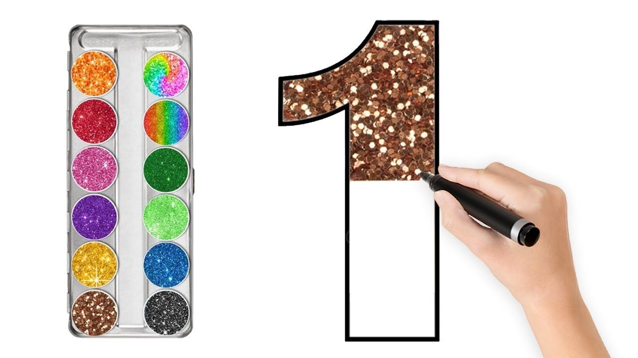 Numbers Coloring With Draw Color Glitters Learn Colors Learn Numbers Learning Numbers Learning Colors Coloring For Kids