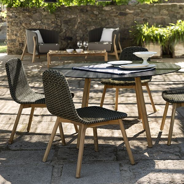 Point Round Outdoor Dining Table Chair Patio Ceramic