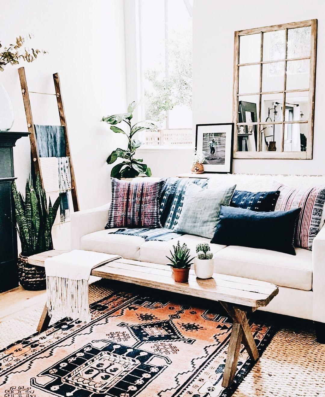 Boho, bohemian home. Living room decor # ...