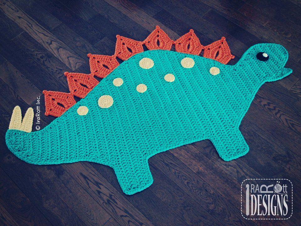 Crochet Pattern Spiky The Stegosaurus Dinosaur Rug Nursery Mat Etsy Crochet Rug Patterns Dinosaur Rug Crochet Dinosaur