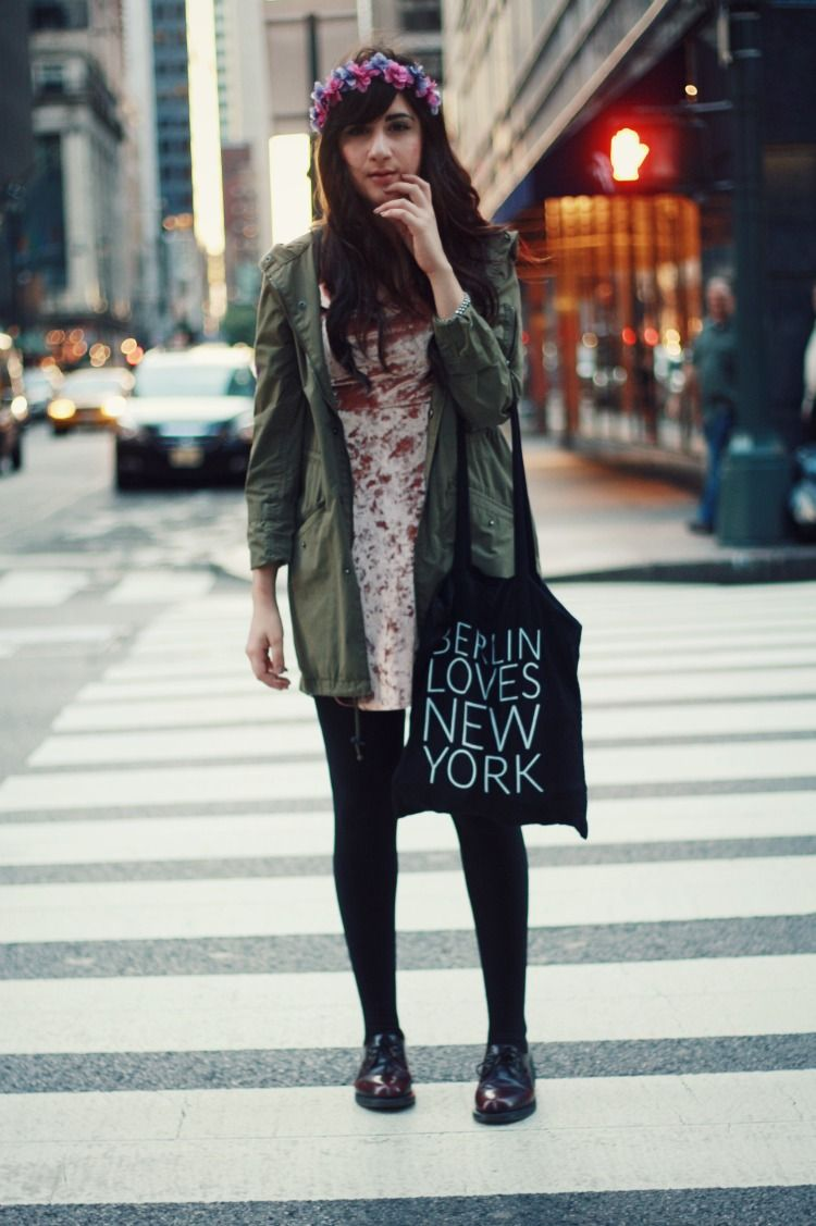 """@Bonnie Barton of """"Flashes of Style"""" wearing UO's dress and jacket #urbanoutfitters"""