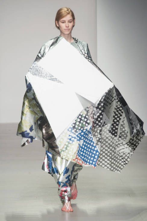 Central Saint Martins F/W 2014. This is similar to what i look like when i get in a fight with the wrapping paper at christmas.