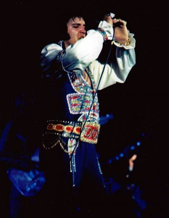 """July 23, 1975, Elvis performed his twentieth concert of the July tour, playing in Asheville, NC., at the U.S. Cellular Center (formerly known as the Asheville Civic Center). The sold-out crowd was numbered at 7,500 people. During this concert, Elvis wore the """"Gypsy"""" suit with the """"Red Armadillo"""" belt."""