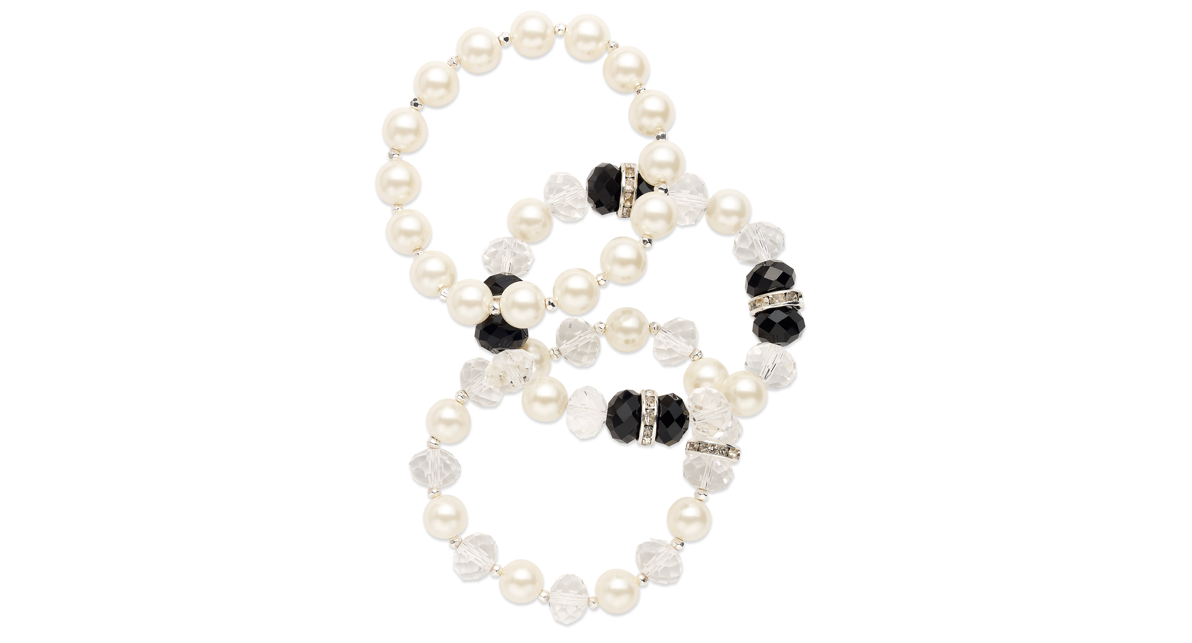 Charter Club Silver-Tone Imitation Pearl and Jet Bead Stretch Bracelet Set