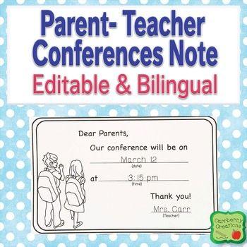Parent-Teacher Conferences Reminder Note in English and Spanish - parent teacher conference form