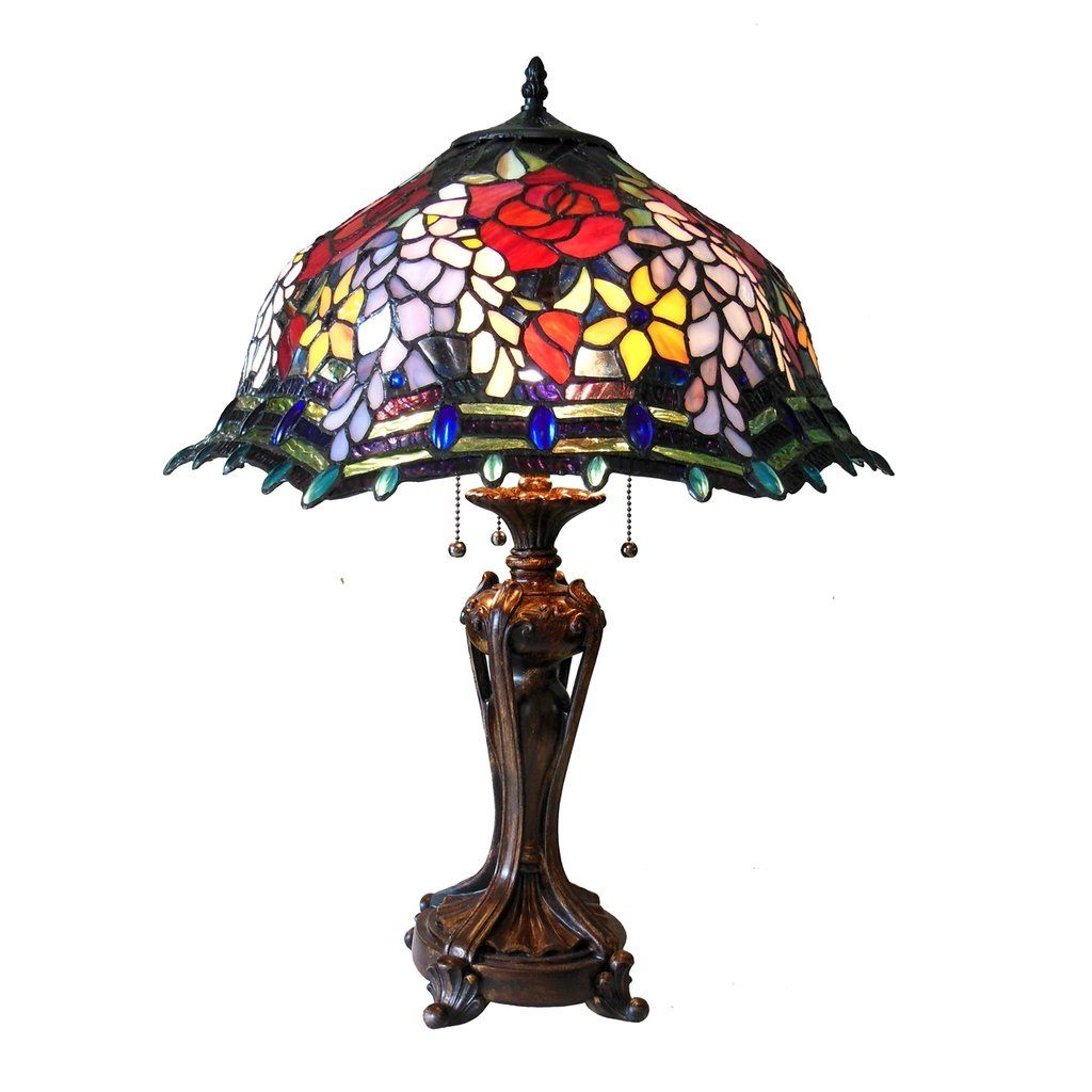 Tiffany Style Stained Glass 3 Light Roses Table Lamp 20 Shade In 2020 Rose Floor Lamp Tiffany Style Table Lamps Stained Glass Table Lamps