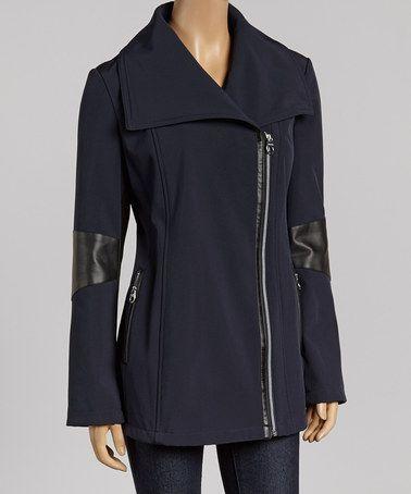 Calvin Klein Navy & Black Zip-Up Peacoat