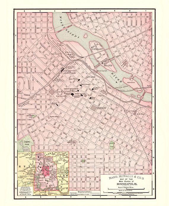 Antique Minneapolis Minnesota City Map - 1897 Reproduction Print ...