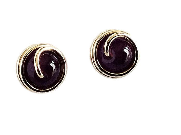 Amethyst Studs Handmade, 14K Gold Filled Wire Wrapped Jewelry, Purple Birthstone Jewelry by DriftInJewelry on Etsy https://www.etsy.com/listing/187710561/amethyst-studs-handmade-14k-gold-filled