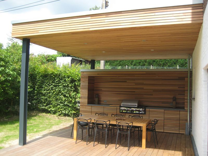 Terrasse couverte à Vieux-Genappe Patios and Gardens