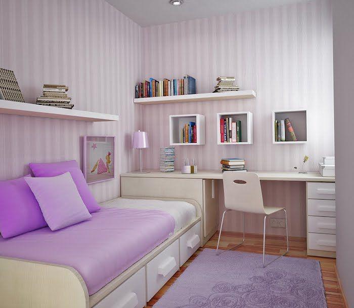 Jugendzimmer Gestalten Gelb Und Weiß Rosa Und Weiß Streifen An Der Wand  Schreibtisch Bett Kleines Mädchenzimmer Einrichten | Ideen Rund Ums Haus |  Pinterest