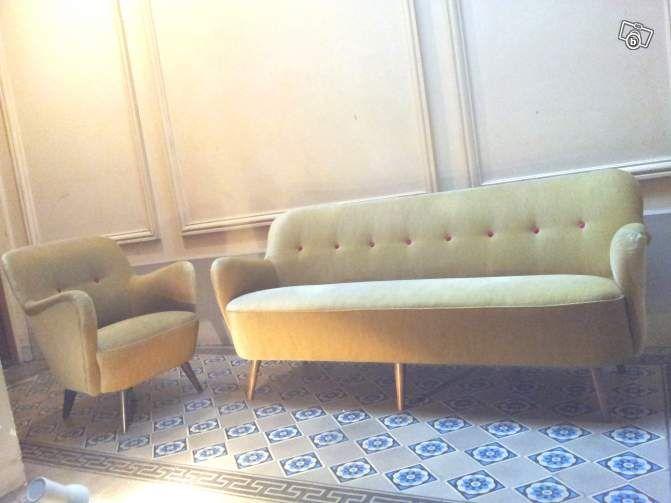 1 Canape Annee 50 60 Sofa Cocktail 1950 Beige Ameublement Paris Leboncoin Fr Ameublement Mobilier De Salon Canape