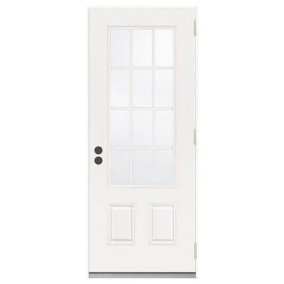 Jeld Wen Premium 12 Lite Primed Steel Prehung Front Door Thdjw190900021 The Home Depot Steel Entry Doors Front Door Jeld Wen