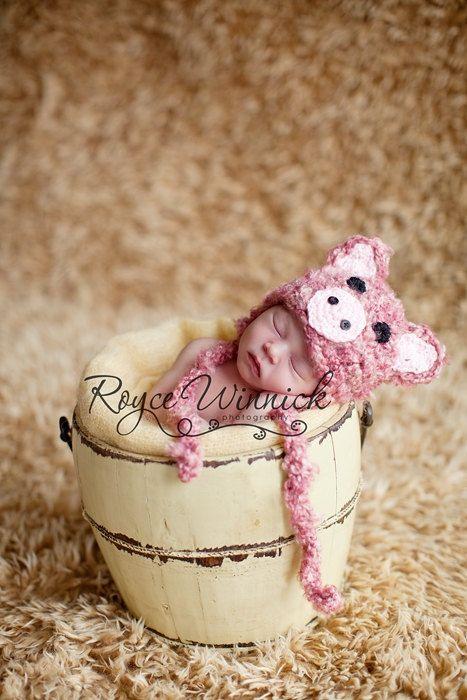 PDF Fuzzy Piggy Baby Hat Photography Prop CROCHET PATTERN No 204 Sizes preemie, newborn, 0-3, 3-6 months. $3.99, via Etsy.