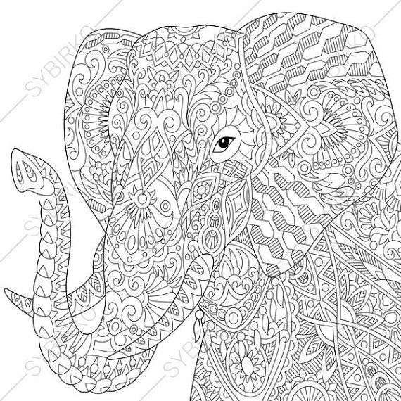 Adult Coloring Pages. Elephant. Zentangle Doodle Coloring Book Page ...