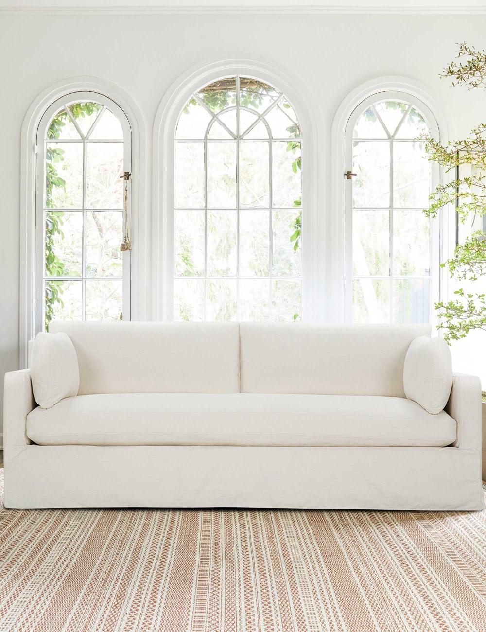 Myla Slip Cover Sofa Bone White Sofa Slipcovers Neutral Sofa