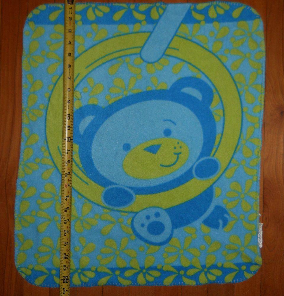 Turquoise green teddy bear baby blanket fleece thin x swinging