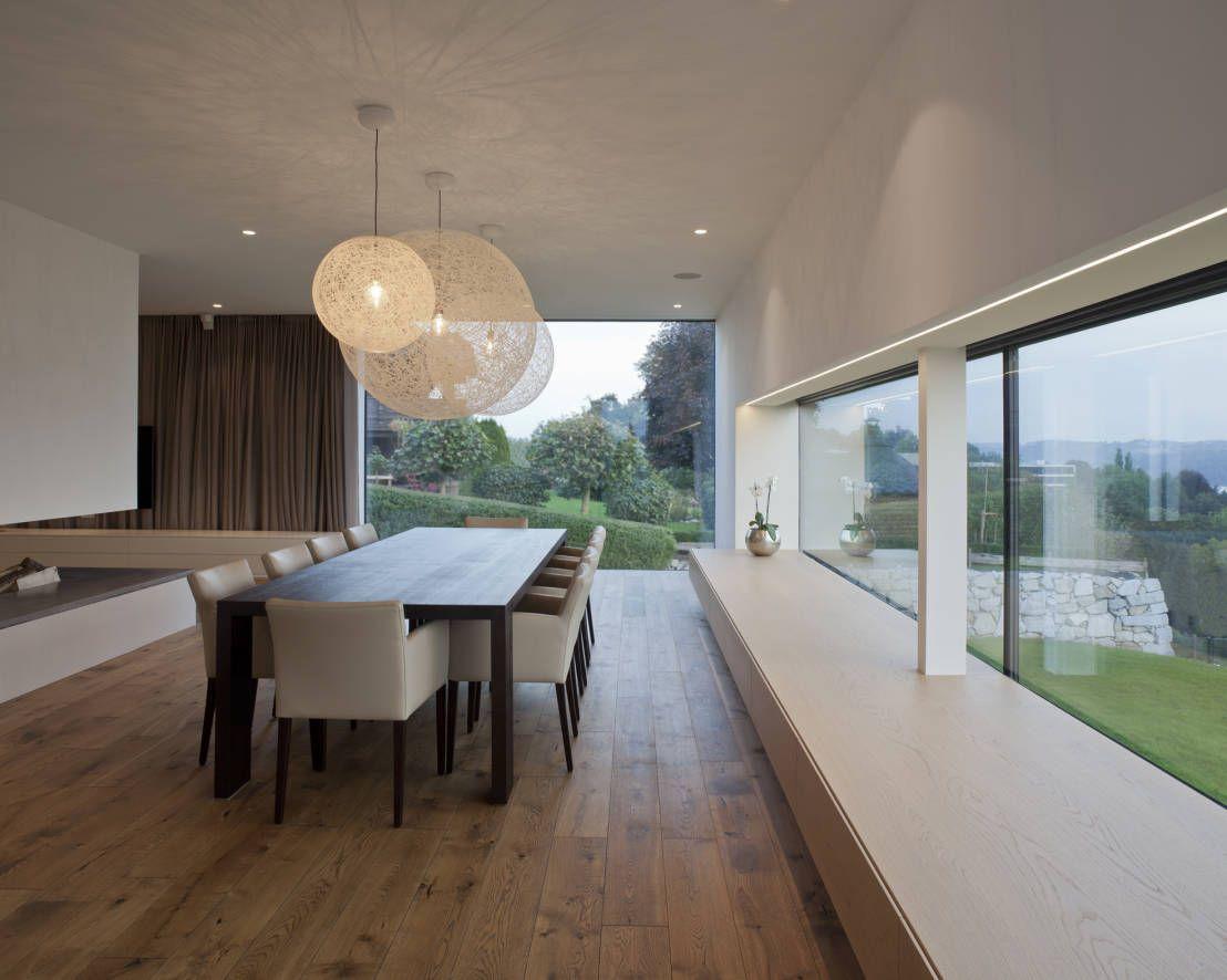 modernes traumhaus in kubistischer form in Österreich | moderne, Esszimmer dekoo