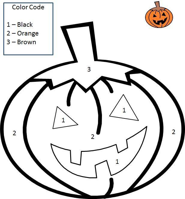 Color By Number Halloween Pumpkin Halloween Pinterest