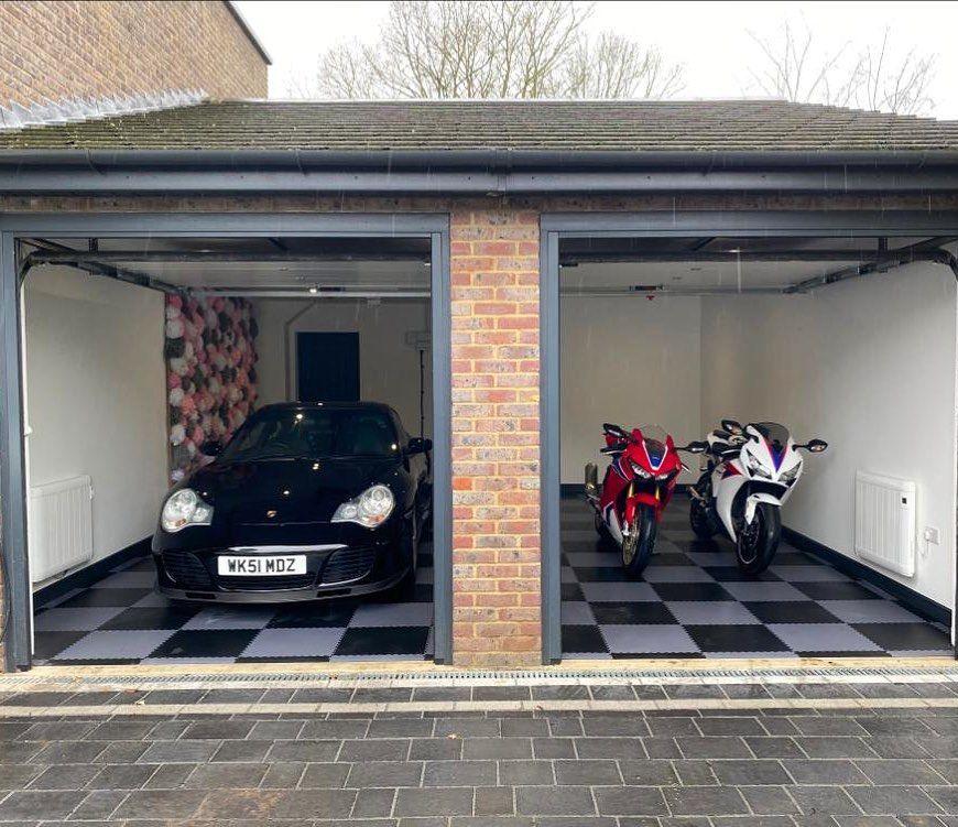 27 Best Garage Design And Decoration Ideas In Managing Your Storage In 2020 Garage Design Double Garage Garage Floor Tiles