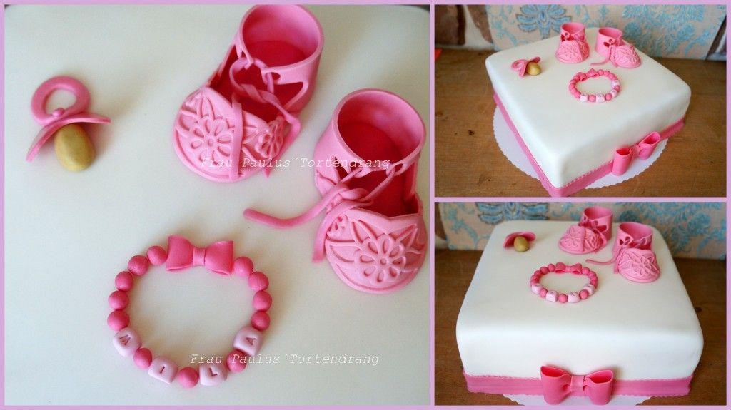 Dekoration Taufe Mädchen: Mädchen-Tauf-Torte Mit Babyschuhen