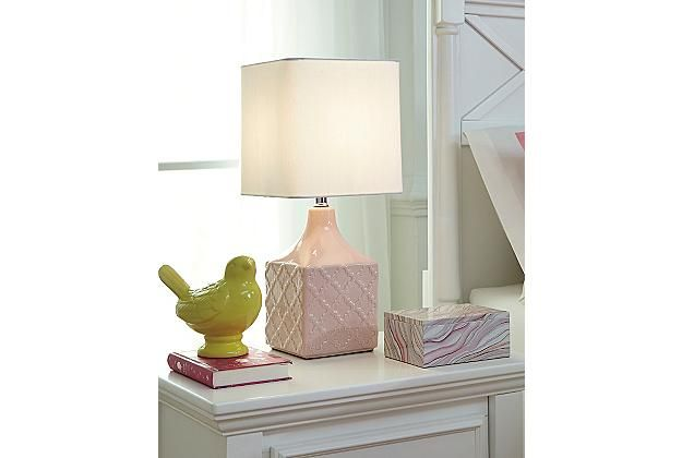 Pink Square Ceramic Lamp With White Shade Ashley Furniture Home Arkansas Largest