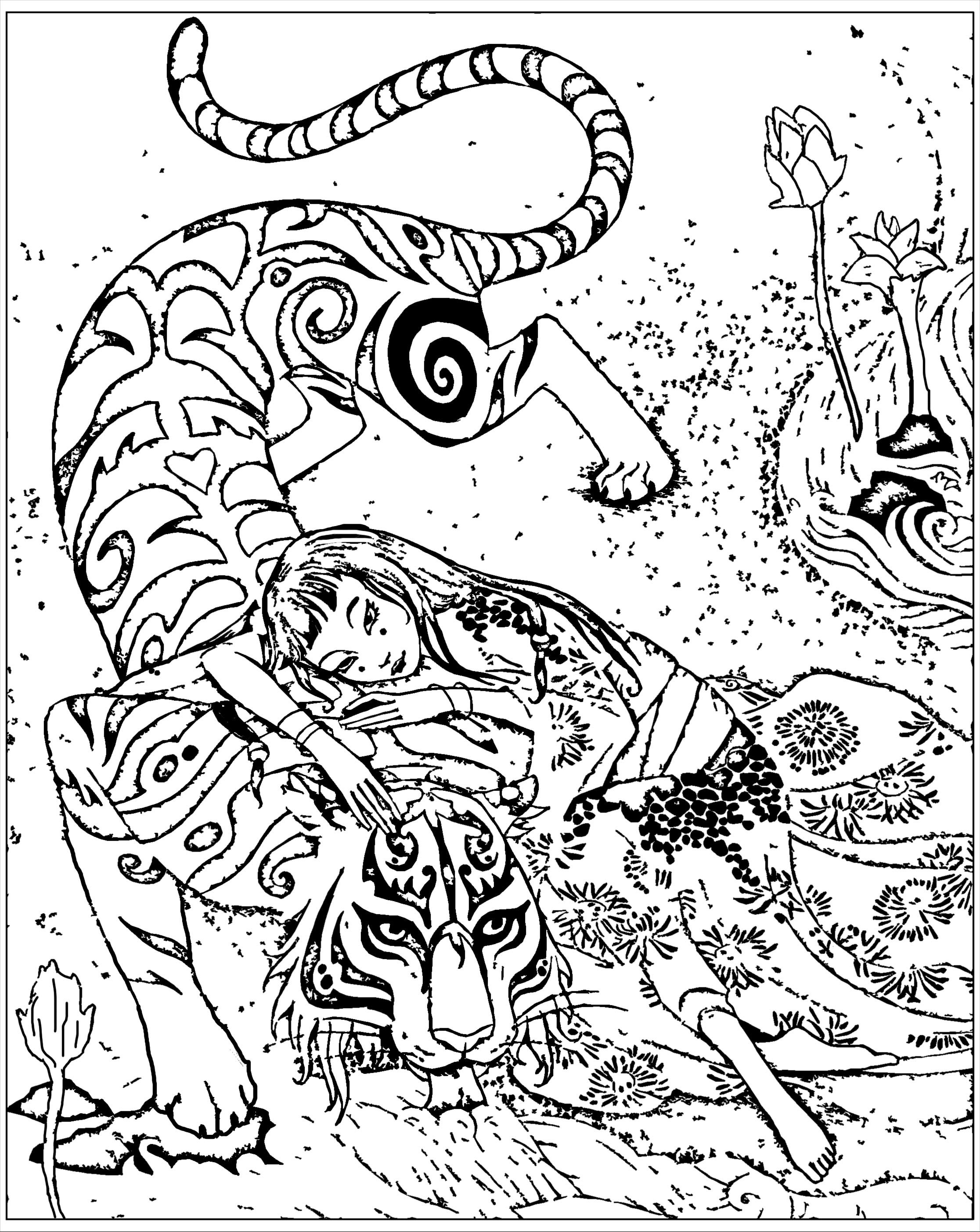 free coloring page coloring adult inspired by book tiger devoted - Coloring Pages Tigers Print