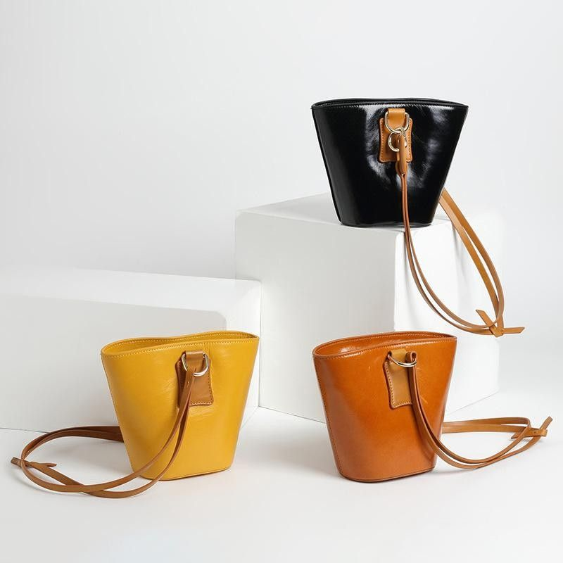 8049f5a84 Yellow Lock Leather Shoulder Bucket Bag with Canvas Inner Pouch in ...