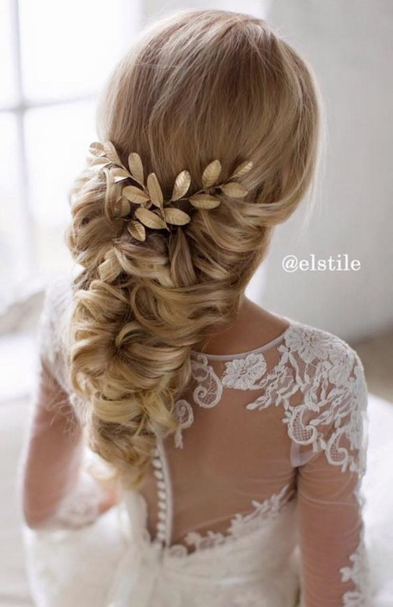 250 Bridal Wedding Hairstyles For Long Hair That Will Inspire Unique Wedding Hairstyles Hair Styles Leaf Hair Piece