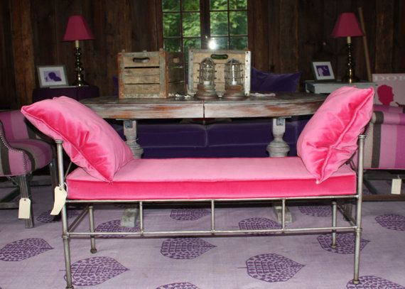 Metal Bench with hot pink velvet cushions by lagrangeds on Etsy ...
