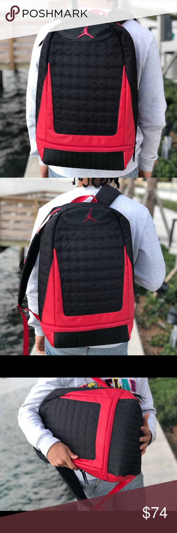 8c282b1c8cfc9 Nike Air Jordan Bred Retro 13 XIII Backpack 100% Authentic! Brand New With  Tags