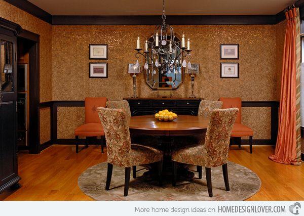 New Craftsman Cork Wallpaper Dining Room Design Wainscoting Bathroom