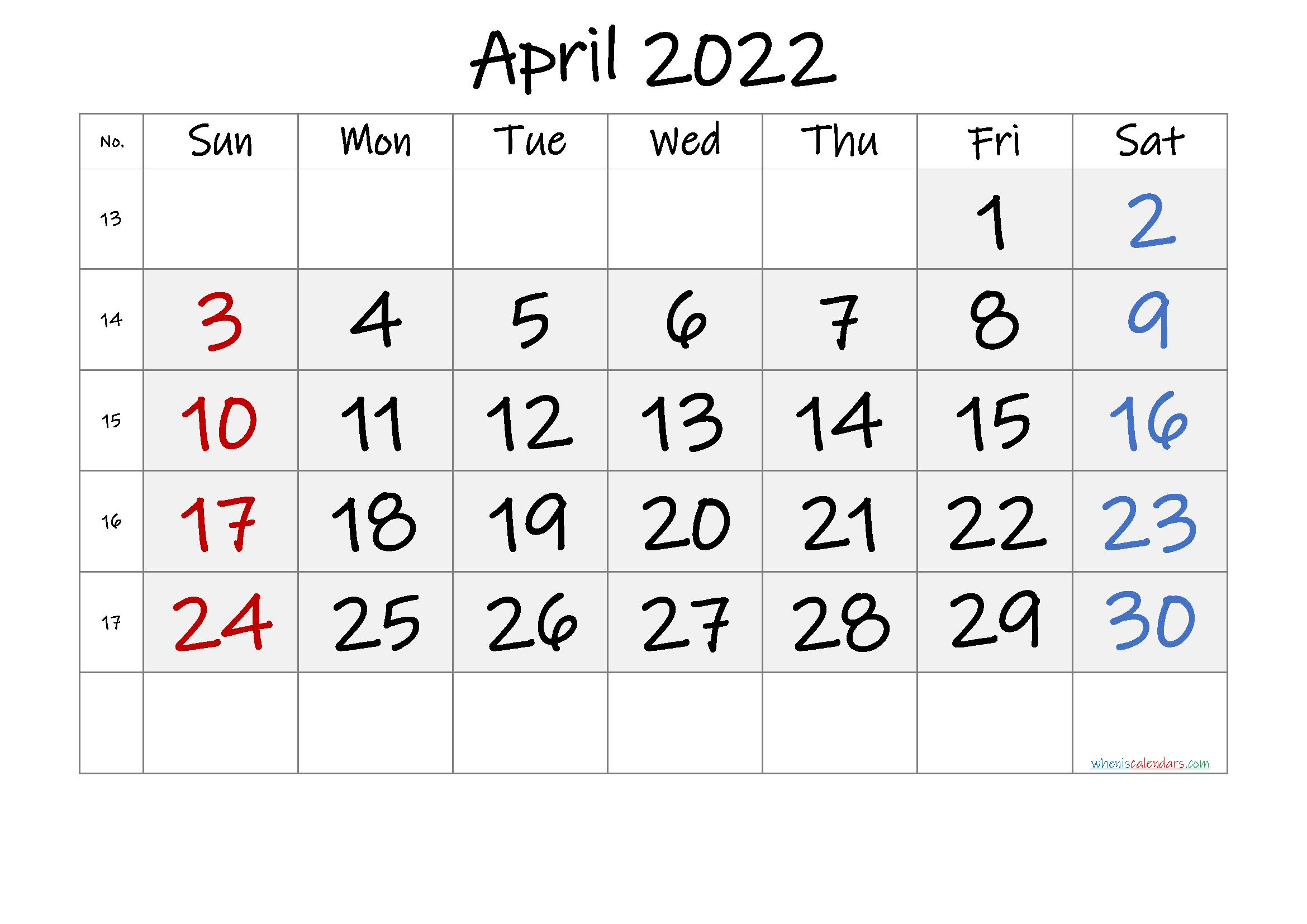 April 2022 Calendar Printable.Free Printable April 2022 Calendar 6 Templates Calendar Printables Printable Calendar Template 2021 Calendar